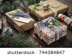 christmas gifts with christmas... | Shutterstock . vector #744384847