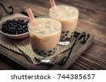 homemade milk bubble tea with... | Shutterstock . vector #744385657