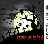 illustration happy halloween.... | Shutterstock .eps vector #744388387