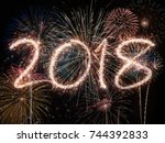 new year eve fireworks 2018 | Shutterstock . vector #744392833