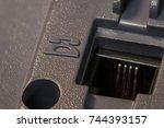 telephone lan line plug in... | Shutterstock . vector #744393157