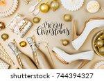 flat lay stylish set  champagne ... | Shutterstock . vector #744394327
