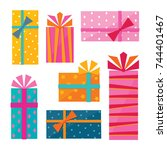 vector collection of brightly... | Shutterstock .eps vector #744401467