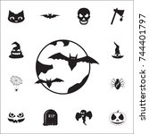 halloween bats and moon icon.... | Shutterstock .eps vector #744401797