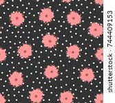 polka dots and flowers painted... | Shutterstock .eps vector #744409153