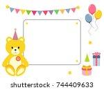 cute frame  card with teddy bear   Shutterstock .eps vector #744409633