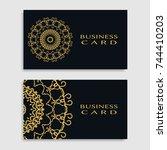 business card templates set... | Shutterstock .eps vector #744410203