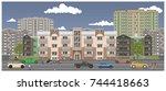 crossroads in the city street.... | Shutterstock .eps vector #744418663