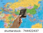 new zealand passport with money ... | Shutterstock . vector #744422437