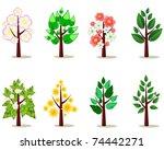 set of stylized trees   Shutterstock .eps vector #74442271