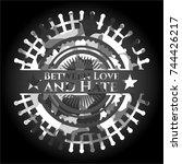 between love and hate on grey... | Shutterstock .eps vector #744426217