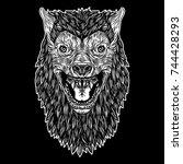head of roaring wolf or...   Shutterstock .eps vector #744428293