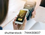 mobile payment with nfc... | Shutterstock . vector #744430837