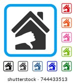 terrible house icon. flat grey... | Shutterstock .eps vector #744433513