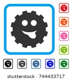 tongue smiley gear icon. flat...
