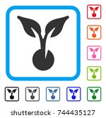 seed sprout icon. flat gray...