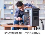computer repairman on... | Shutterstock . vector #744435823