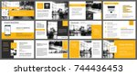 Yellow and white element for slide infographic on background. Presentation template. Use for business annual report, flyer, corporate marketing, leaflet, advertising, brochure, modern style. | Shutterstock vector #744436453
