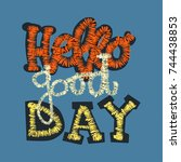 embroidery patch with trendy... | Shutterstock .eps vector #744438853