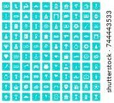 100 premium icons set in grunge ... | Shutterstock .eps vector #744443533