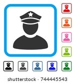policeman icon. flat gray... | Shutterstock .eps vector #744445543