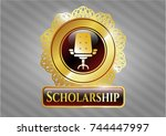 gold shiny badge with office... | Shutterstock .eps vector #744447997