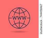 vector linear internet concept. ... | Shutterstock .eps vector #744458467