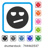 bored smiley icon. flat gray...