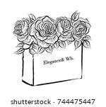 beautiful flower box vector... | Shutterstock .eps vector #744475447