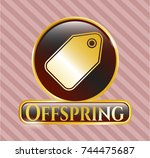 gold emblem or badge with tag... | Shutterstock .eps vector #744475687