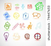 set of clolrful icons and... | Shutterstock .eps vector #74447653