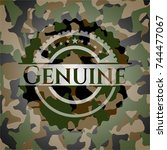 genuine camouflaged emblem | Shutterstock .eps vector #744477067