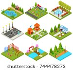 City Public Park or Square Objects Set Icons 3d Isometric View with Food Truck, Carousel and Sport Place. Vector illustration of Concept Relaxation | Shutterstock vector #744478273