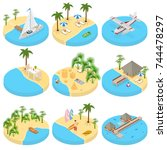 beach vacation set icons 3d... | Shutterstock .eps vector #744478297
