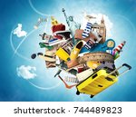 travel and tourism  world... | Shutterstock . vector #744489823
