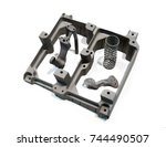 object printed on metal 3d... | Shutterstock . vector #744490507