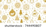 white and golden new year... | Shutterstock .eps vector #744490807