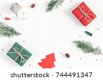 christmas composition. frame... | Shutterstock . vector #744491347