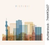 pretoria skyline detailed... | Shutterstock .eps vector #744492637