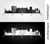 fargo usa skyline and landmarks ... | Shutterstock .eps vector #744492667