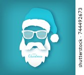 paper santa claus with glasses... | Shutterstock .eps vector #744492673