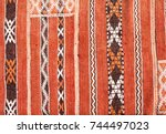 texture of berber traditional... | Shutterstock . vector #744497023