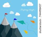 paper plane flying over... | Shutterstock .eps vector #744498457