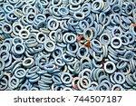 galvanized steel plain washer   Shutterstock . vector #744507187