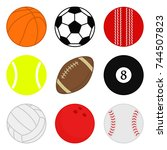sports balls vector set.... | Shutterstock .eps vector #744507823
