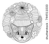 christmas coloring page | Shutterstock .eps vector #744511033