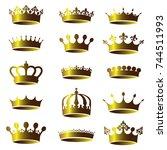 set of vector vintage golden... | Shutterstock .eps vector #744511993