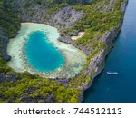 aerial view of cocks comb... | Shutterstock . vector #744512113