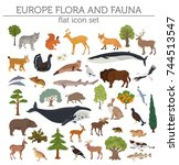 flat european flora and fauna... | Shutterstock .eps vector #744513547