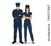 police offiders in a uniform.... | Shutterstock .eps vector #744517867